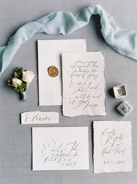 Blue and Gold Script Wedding Invitations
