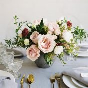 Blush and Burgundy Centerpiece in a Concrete Vase