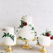 Bas Relief White on White Wedding Cakes with Vines and Flowers