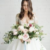 Modern Romance Bride with a Blush Bouquet