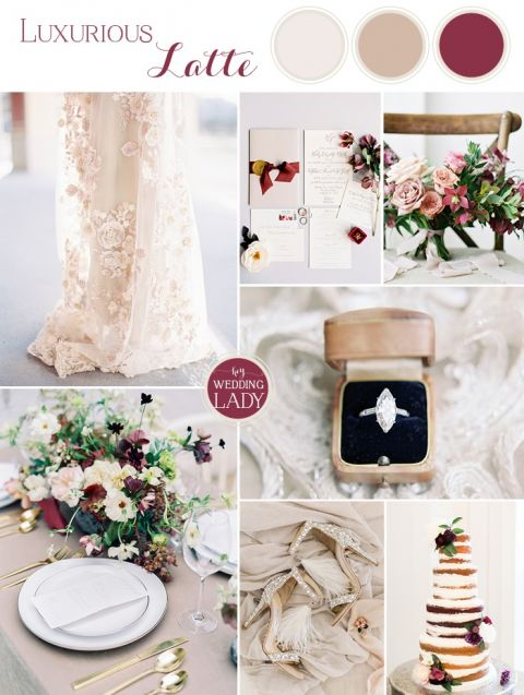 Luxe Wedding Colors in Latte and Wine