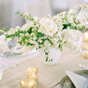 Pewter and White Wedding Decor with Fresh Summer Flowers