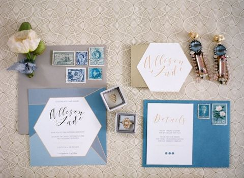 Geometric Blue and Gold Wedding Invitation Suite