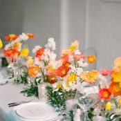Blue and White Wedding Tablescape with a Summer Poppy Table Runner