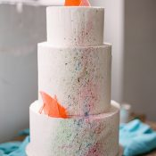 Modern Art Pain Splatter Neon Wedding Cake