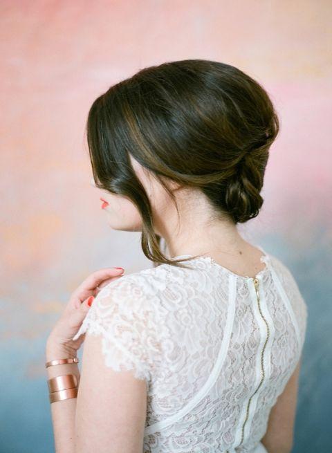 Elegant Wedding Hairstyle with a Low Twist