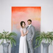 Hand Painted Colorful Wedding Ceremony Backdrop