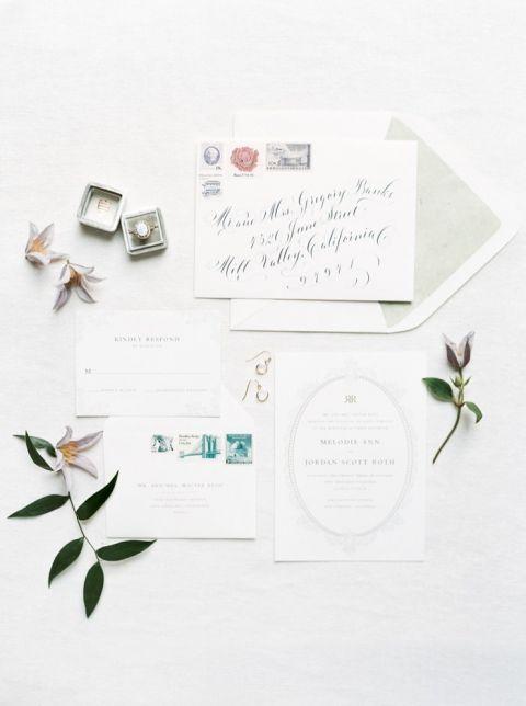 Delicate Watercolor Inspired Wedding Invitation Suite