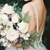 Low Back Crystal Wedding Dress with a Fine Art Garden Bouquet