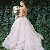 Glamorous Enchanted Garden Wedding Photos with a Pastel Dress