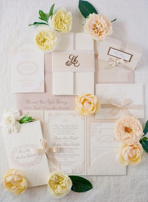 Sweetly Southern Wedding Invitations with Summer Flowers