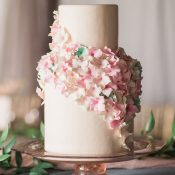Blooming Petal Wedding Cake with Sugar Flowers