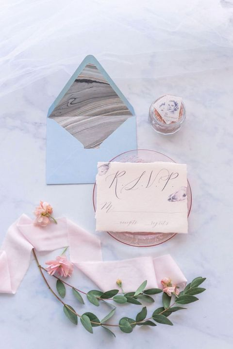 Seaside Inspired Wedding Invitation in Blush and Pale Blue