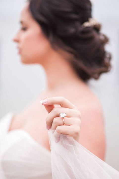 Ethereal Bridal Photo Showing Off Her Vintage Engagement Ring
