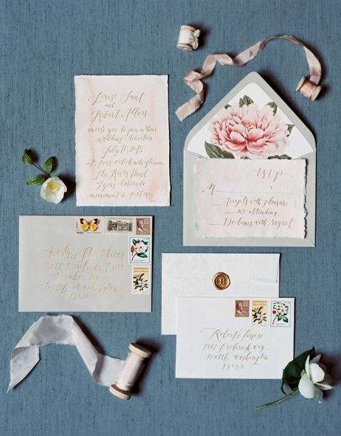 French Blue and Blush Wedding Details and Invitations