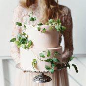 Peach and Green Organic Wedding Cake