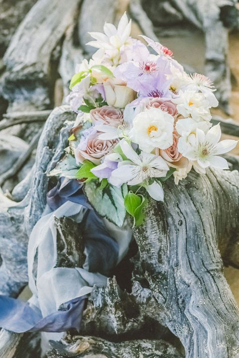 Delicate Purple and Peach Bridal Bouquet
