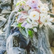 Delicate Purple and Peach Bridal Bouquet