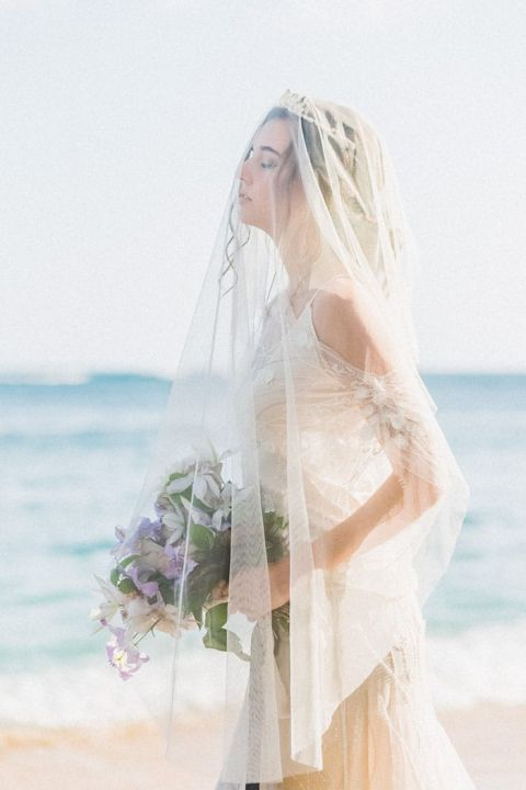 Stunning Beach Bride with a Drop Veil