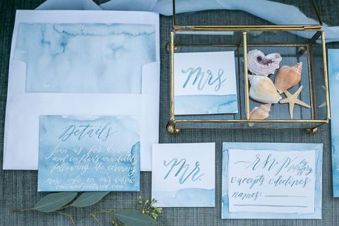 Ocean Inspired Watercolor Wedding Invitations with Shells
