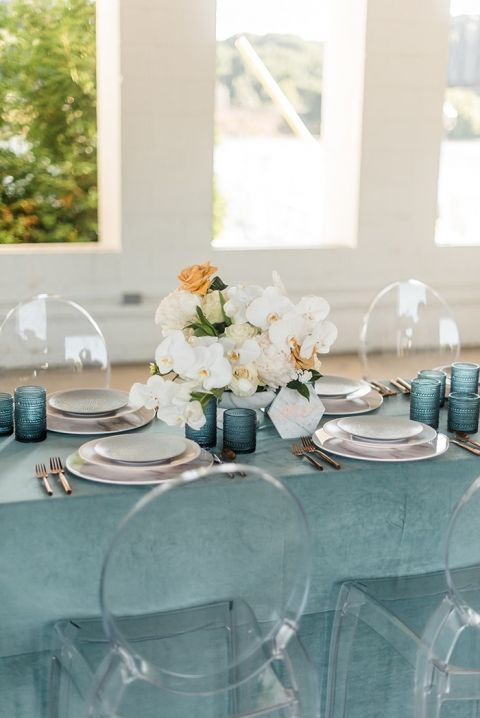 modern wedding decor. Modern Wedding with Ghost Chairs and a Chic Color Palette Marble Metallic Decor  Hey Lady