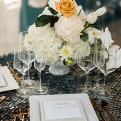 Modern Metallic Wedding Decor in White and Copper with Silver Sequins