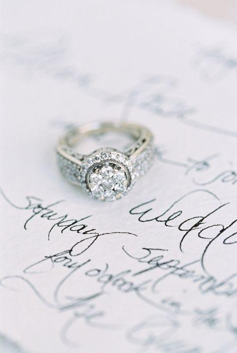 Vintage Diamond Cluster Engagement Ring