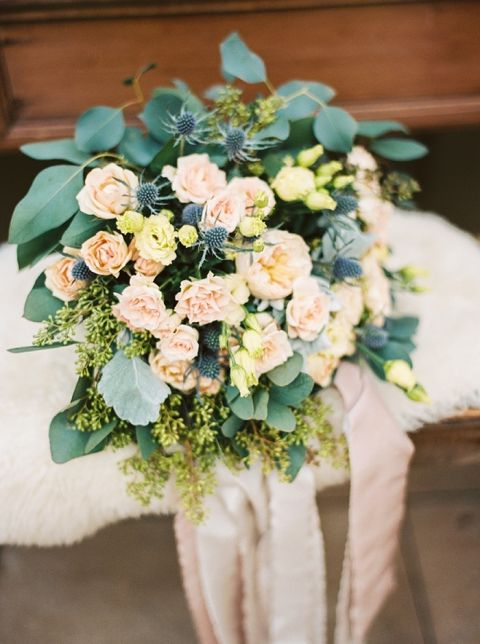 Pastel Peach Bouquet for an Enchanted Forest Wedding
