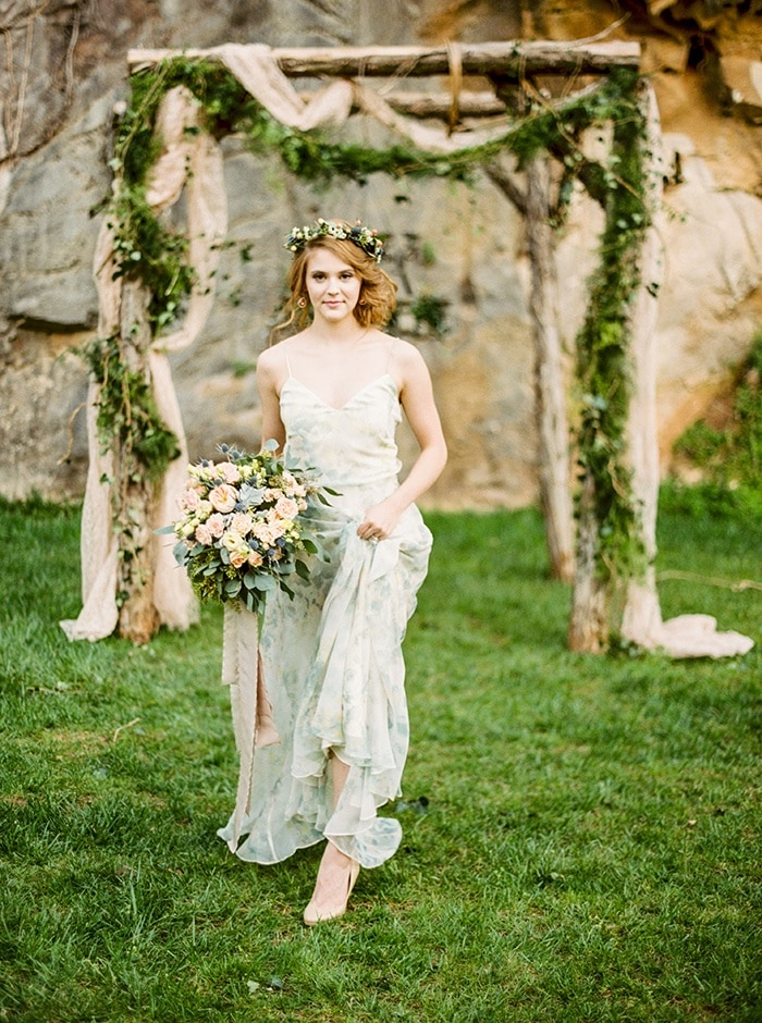 Enchanted Forest Blush Bridal Shoot - Hey Wedding Lady