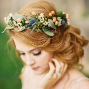 Flower and Berry Crown with a Romantic Bridal Updo