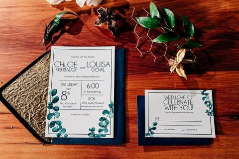 Teal and Gold Modern Wedding Invitation