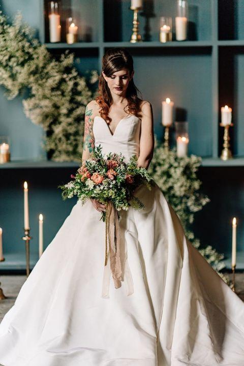 Chic Modern Bride in a Taffeta Ball Gown