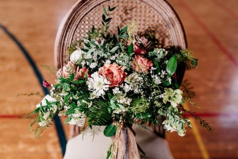 Peach and Ivory Bouquet with Greenery