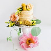 Petite Waffle Cake with Citrus Inspired Flowers