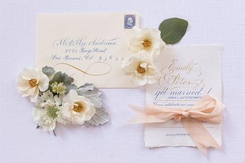 Sweet Hand Lettered Elopement Announcement