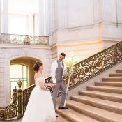 Wedding Photos on the Grand Staircase at San Francisco City Hall