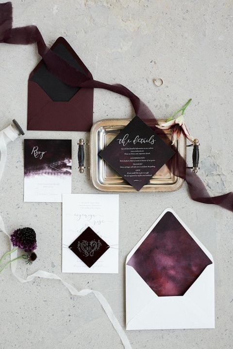 Moody Plum Wedding Invitations