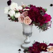Modern Centerpiece with Neutral and Jewel Tone Flowers