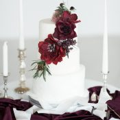 Modern White Wedding Cake with Burgundy Sugar Flowers