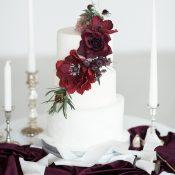 Modern White Wedding Cake with Burgundy Sugar Flowers