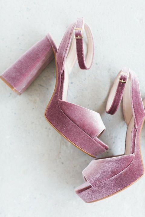 Luxe Velvet Heels in Iced Plum