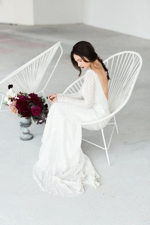 Dramatic Fall Bridal Style with Long Sleeves and an Open Back