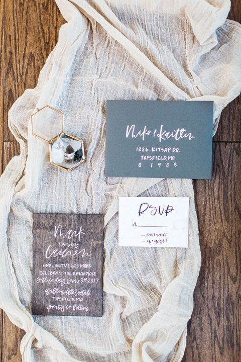 Hand Lettered Wood Invitation Suite