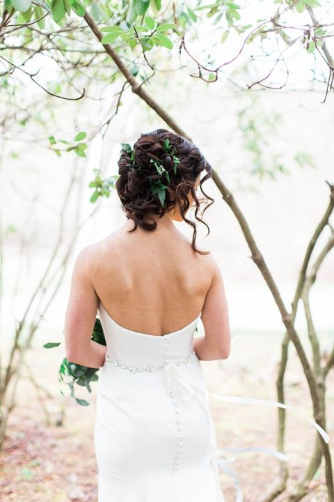 Modern Greenery Adorned Bridal Hairstyle