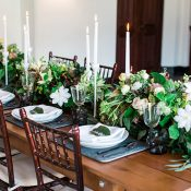 Slate and Greenery Table Decor