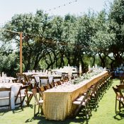 Gold Sequin Tablecloths for a Texas Glam Ranch Wedding