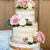 Fig and Floral Fall Naked Cake for a Ranch Wedding