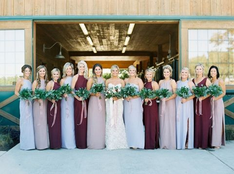 Mismatched Bridesmaid Dresses in Marsala, Lavender, and Mauve