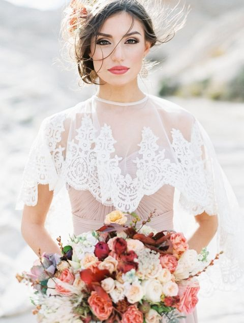 Bohemian Chic Desert Bridal Shoot with Fall Flowers - Hey Wedding Lady