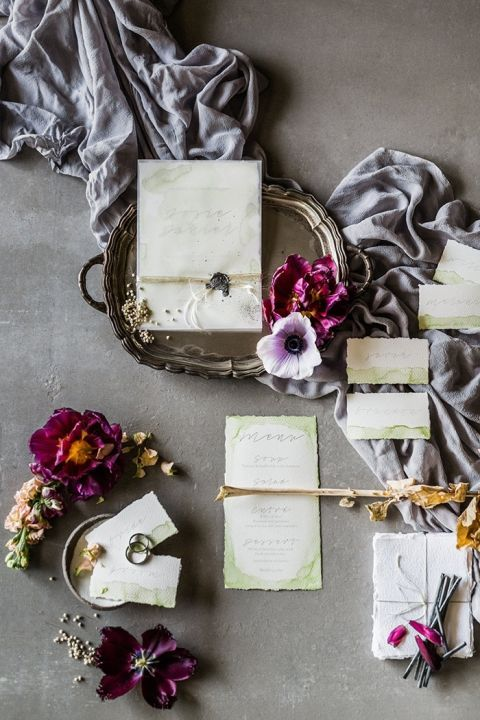 Plum and Charcoal Fine Art Wedding Styling Details